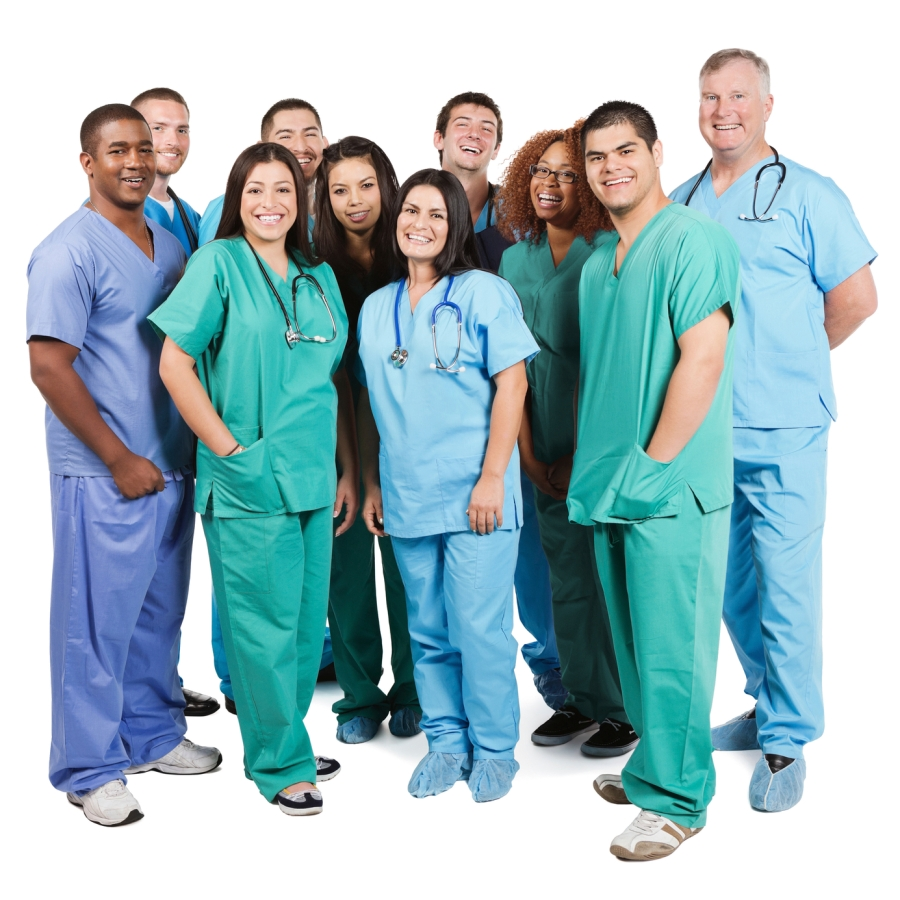 Diverse group of happy hospital nurses on white background